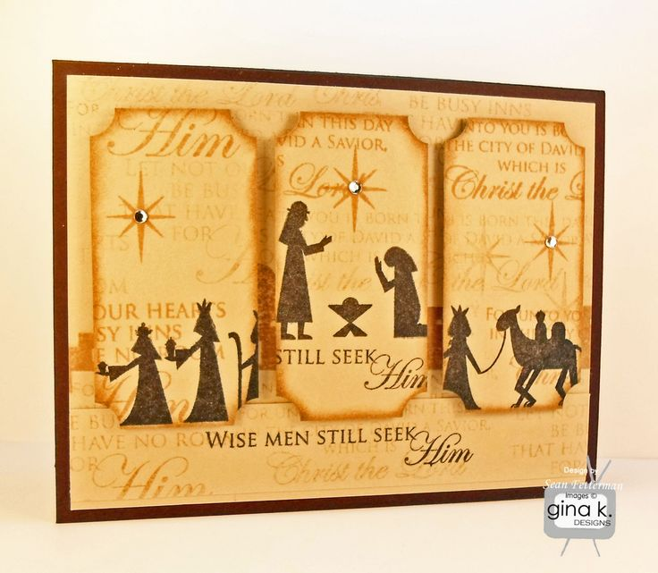"""Wise Men Still Seek Him"" made with:    - Gina K Designs ""City of David"" by Beth Silaika stamp set  - Gina K. Designs Pure Luxury Chocolate Brown card stock  - Gina K. Designs Pure Luxury Sandy Beach card stock  - Memento Inks in Peanut Brittle  and Tuxedo Black  - Clear gem stones    Stamp TV Gallery: http://stamptv.ning.com/photo/wise-men-still-seek-him?context=userChristmas Cards, Cards Stockings, Cards Ideas, Cards Projects, Stamps Tv, Stamps Sets, Wise Men, Brown Cards, Beach Cards"