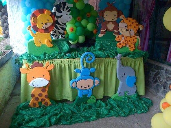 Decoracion safari arca animal print zafari for Fiesta baby shower decoracion