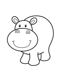 Hippo smiling - cartoon animals coloring pages for kids, printable free