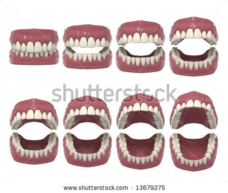 stock photo : 3d rendered dental prosthesis in opening action