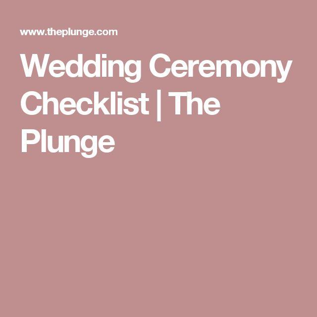 Wedding Ceremony Checklist | The Plunge