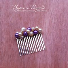 Accessoire cheveux mariage - peigne cheveux  - perles nacrées parme / ivoires ou blanches