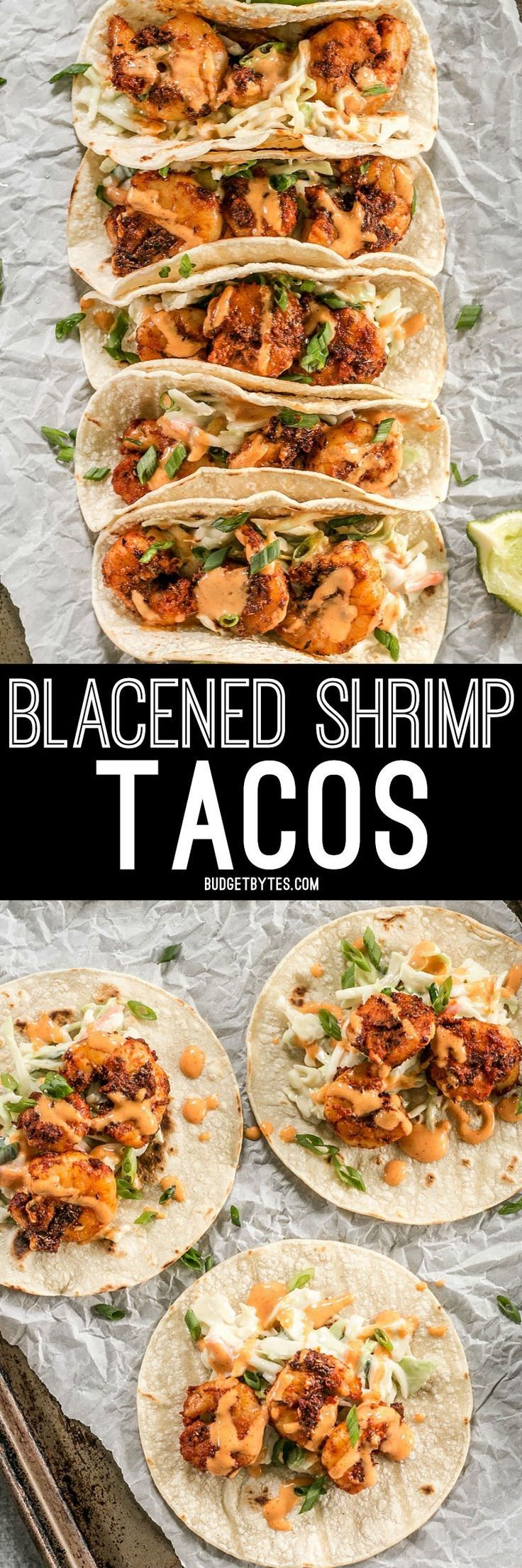 Smoky and spicy shrimp, sweet and tangy slaw, and a zesty garlic lime sauce make these Blackened Shrimp Tacos seriously delicious! Budget Bytes   Delicious Recipes for Small Budgets