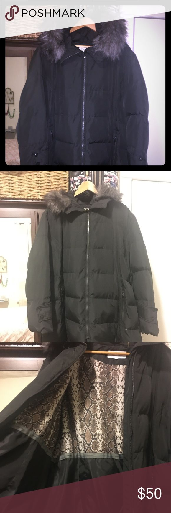Calvin Klein Plus size puffer coat Beautiful Like new confito puffer coat.  Charcoal grey with faux fur hood. Calvin Klein Jackets & Coats Puffers