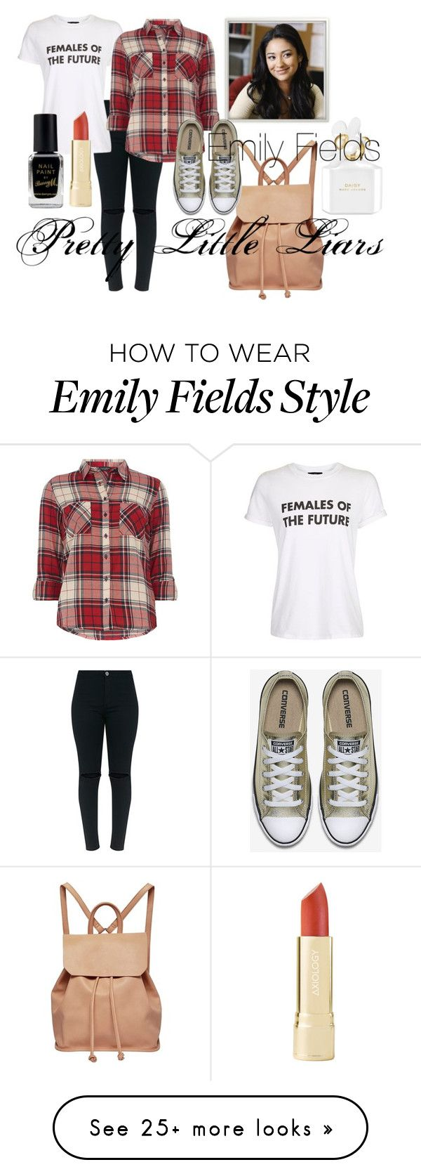 """Emily Fields Style- Pretty Little Liars"" by rarimena on Polyvore featuring Urban Originals, Topshop, Marc Jacobs, Dorothy Perkins, Barry M, PrettyLittleLiars, flannel and Tshirt"