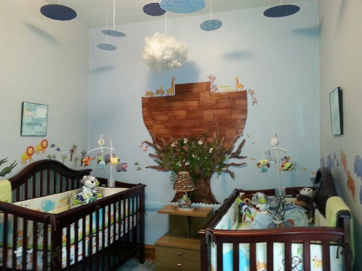 Noahs Ark theme baby nursery for twins Michael Lechowski