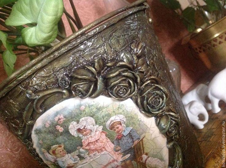 """Купить Ведёрко-кашпо""""Завтрак в саду"""" - винтаж ретро, декупаж работы, цветы, кашпо для цветов"""