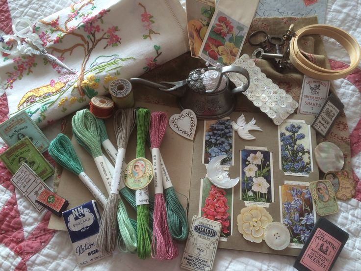 A few of my favourite vintage treasures .... Also the header photo of my blog. www.homespunstitchworks.co.uk
