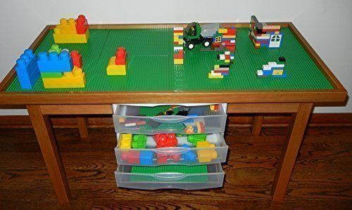 "LEGO PLAY TABLE WITH 3 STORAGE DRAWERS SOLID POPLAR WOOD LEGS & FRAME - REMOVABLE BASE PLATE LEGO TILES (8 Tile Lego Play Table 22"" Legs) LEGO PLAY TABLE http://www.amazon.com/dp/B00GP838GY/ref=cm_sw_r_pi_dp_Ey5Xwb0PZM8C1"