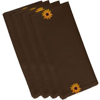 E by Design Brown Polyester 19x19 El Girasol Feliz Floral Print Napkin (Brown)