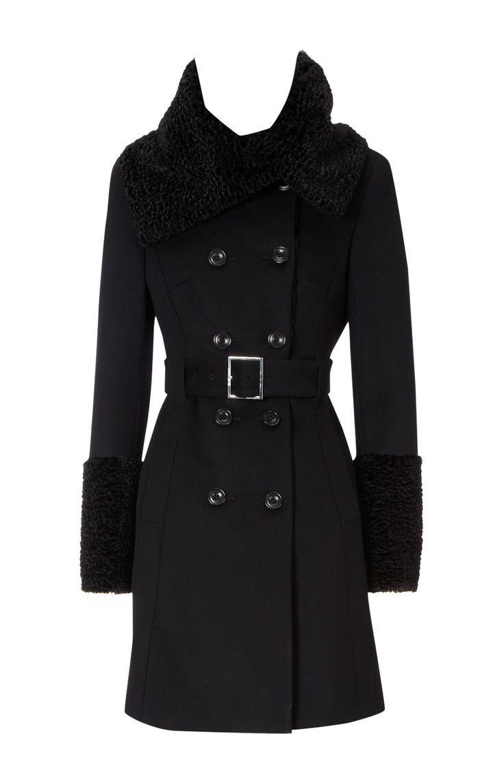 Karen Millen astrakhan trim wool coat $595