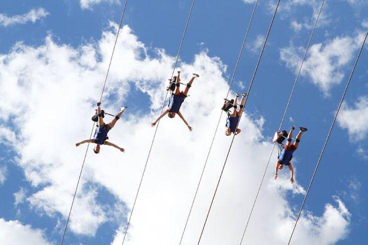 Flying superhero-style on SlotZilla zip line Las Vegas.