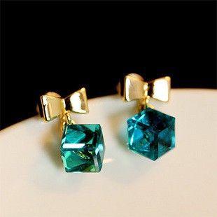 Cute Crystal Bow and Cube Stud Earrings Women's Accessories TCDE0117 #Jewelry #WomensJewelry