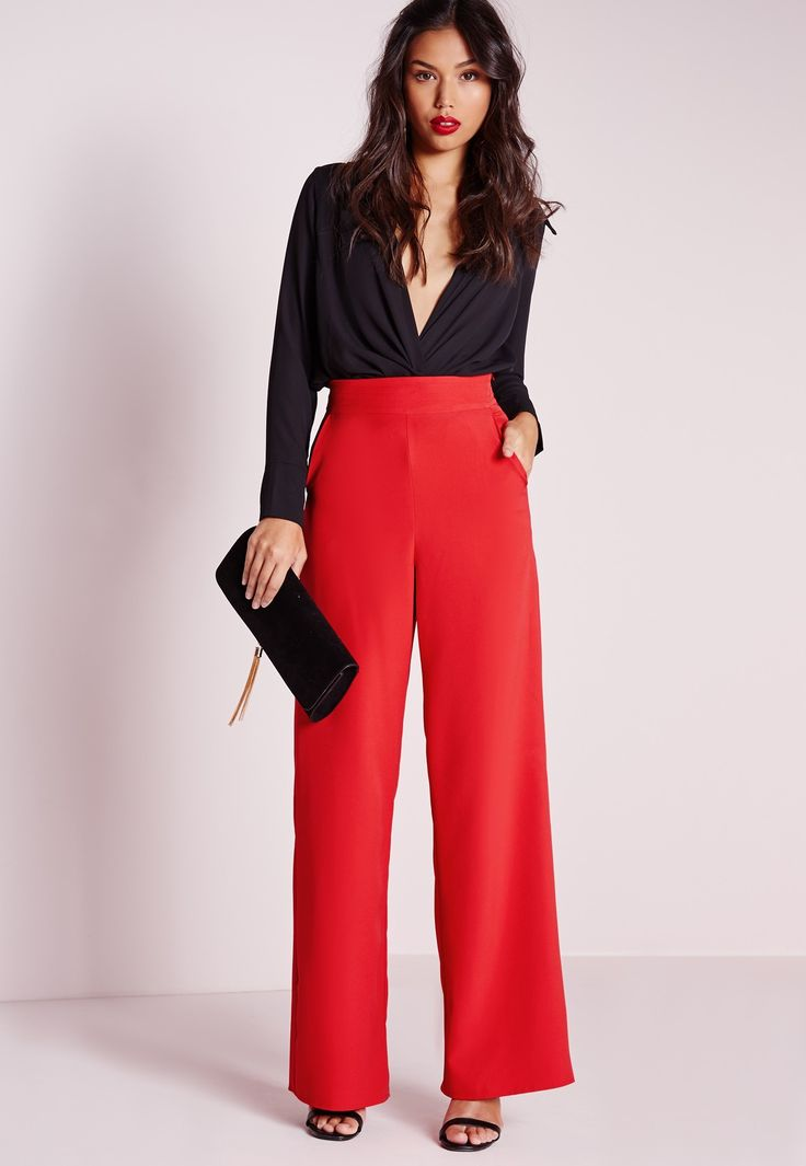 Missguided - High Waist Wide Leg Trousers Red | Things to ...