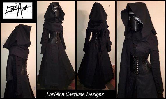 Female KYLO REN Inspired Black Linen Hooded Scarf by loriann37