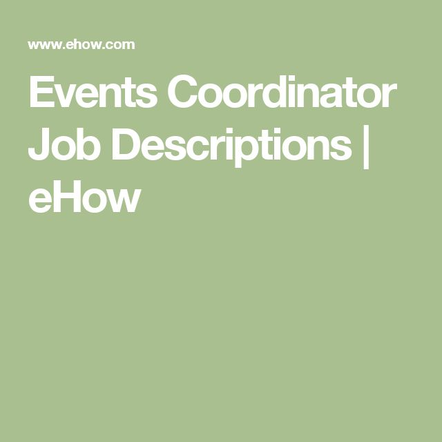 Events Coordinator Job Descriptions | eHow
