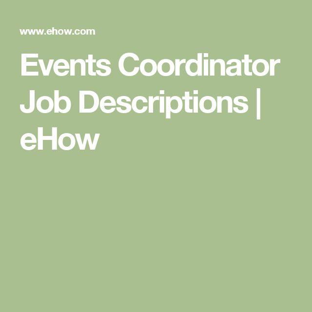 Events Coordinator Job Descriptions | eHow
