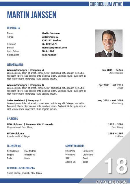 Onderscheidend CV sjabloon met een zakelijke uitstraling, inclusief bijpassend brief sjabloon http://deleydsche.nl/product/cv-sjabloon-18