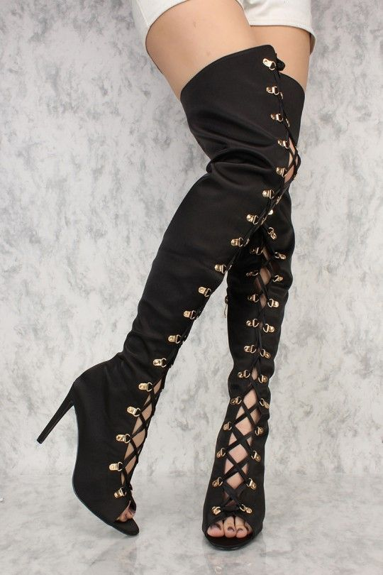 ad27e897239 Black Lace Up Front Thigh High Heels Boots Satin