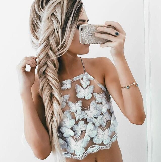 Strap Backless Butterfly Embroidery Sexy Vest Tank Top Camisole