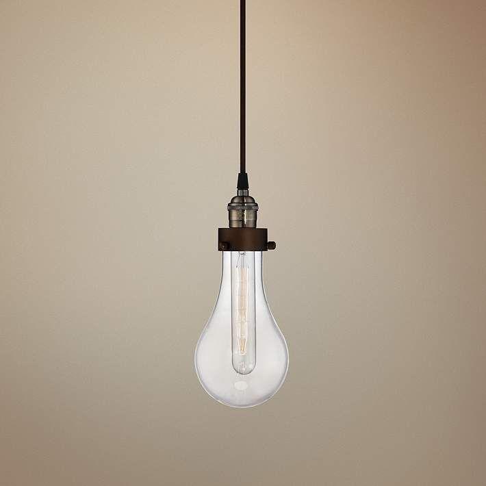 "Coleman Rust 10 3/4"" High Hanging Glass Globe Mini Pendant - #7C368 | Lamps Plus"