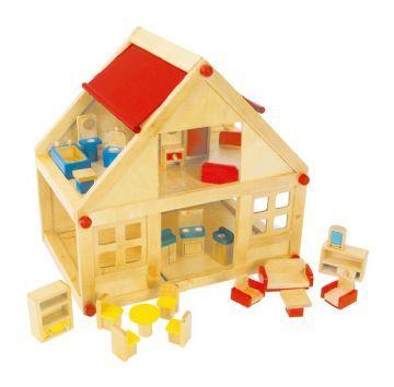 Kaksikerroksinen puunukkekoti - Nukkekoti 7253 Shop - Eurotoys - Lelut online