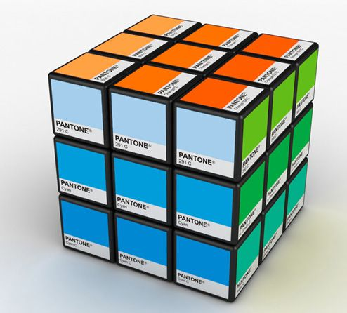 the perfect gift for an Eighties deisign nerd, perhaps?  Now imagine the squares were stickers so if, like me, you resorted to peeling the stickers off, that could still be an acceptable option? #Rubiks #Pantone #colour