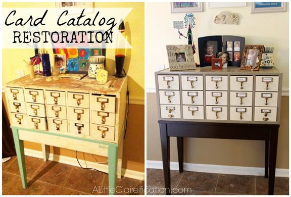 31 Days To An Organized Home: Day 29 - The Antique Card Catalog Reveal - A Little Claireification