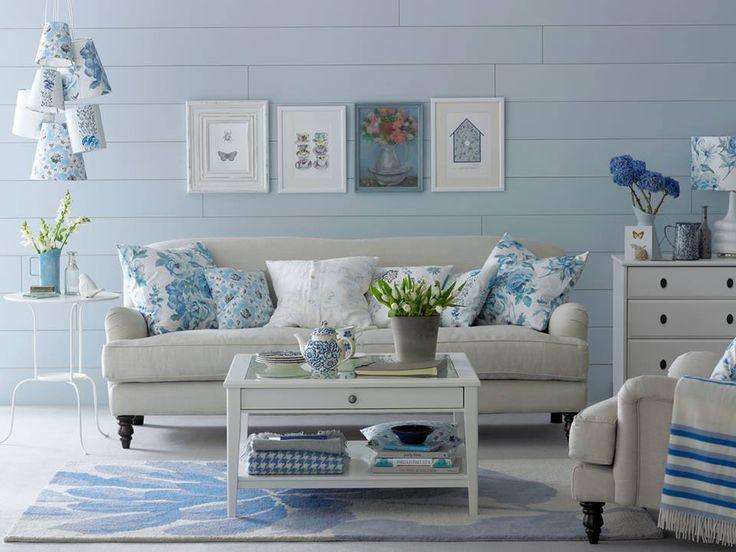 fresh blue and white living room