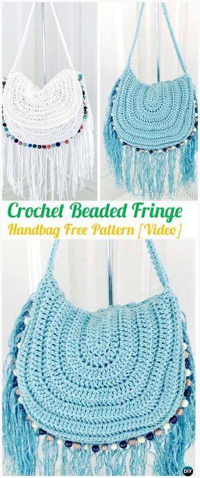 Crochet Beaded Fringe Handbag püskülFree Pattern [Video] - #Crochet Handbag Free Patterns