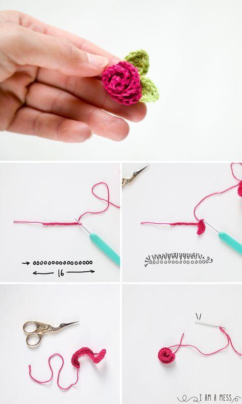 Pasos para hacer una rosa de pitimini de ganchillo. I am a Mess Blog