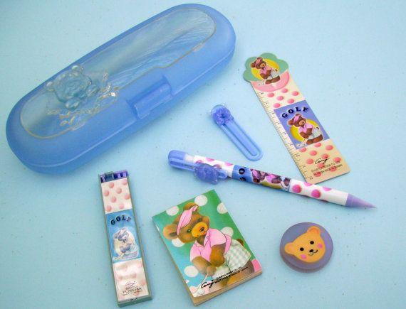 Golf Pencil Case. Blue Bear Pencil Box. 90s Kawaii by JirjiMirji, €14.30