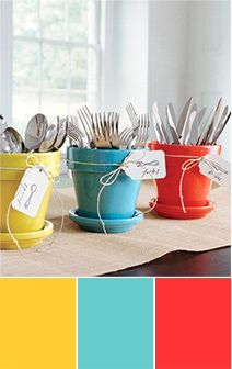 great idea for utensils at a bbq, or...to go with my Fiesta Ware dishes!