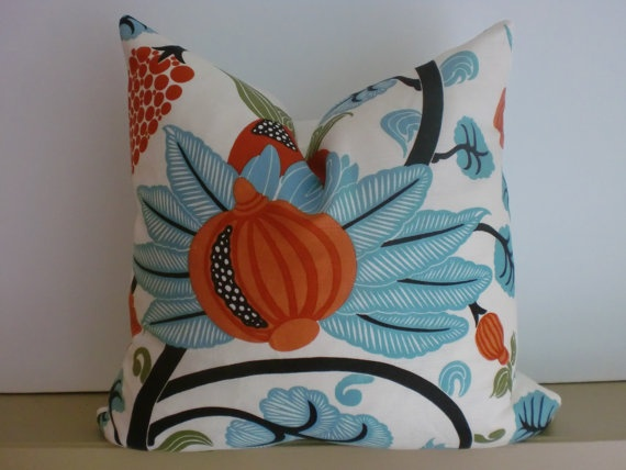 orange and blue pillow.