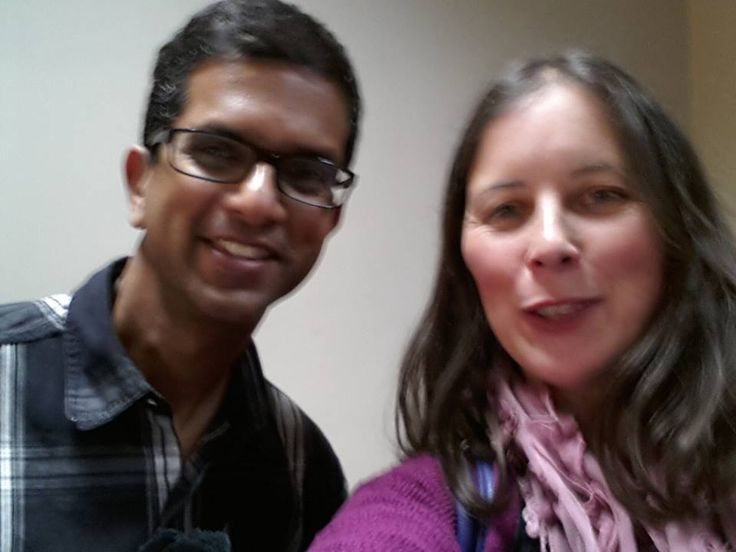 Srinivas Pabbaraju (left), founder of the Business Booster Academy, with the host of the Hazelnut Interviews, Satya Gillen in London, 2014.