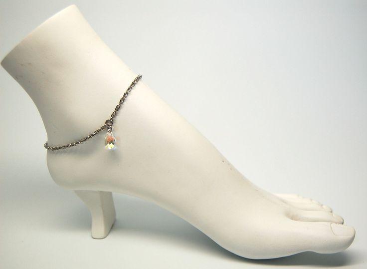 Bracelet cheville mariée bijoux cheville chic mariage chaine de pied cristal bijou acier inoxydable Création Cristal Ev. #Paix de la boutique CristalEv sur Etsy