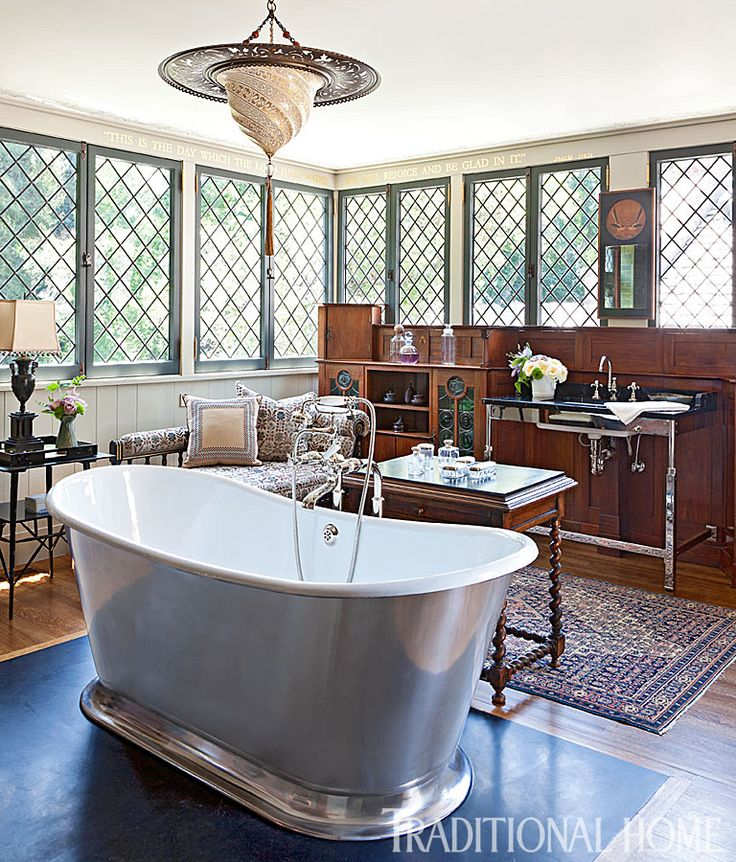 The Free Standing Tub With A Burnished Exterior Finish Is Complemented By A  Vintage