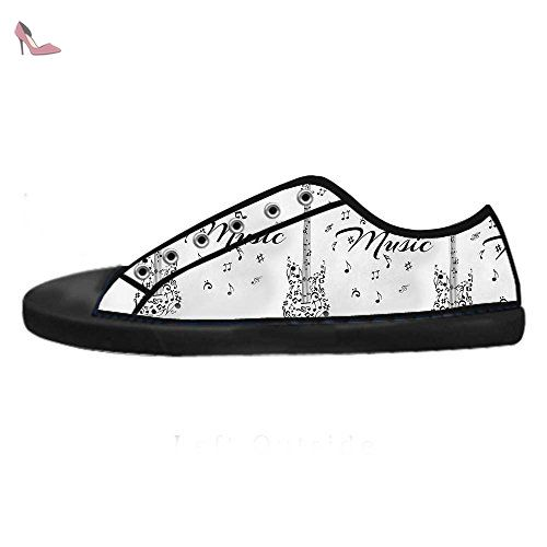 Dalliy Music Note And Guitar Men's Canvas Shoes Lace-up High-top Footwear Sneakers Chaussures de toile Baskets - Chaussures dalliy (*Partner-Link)