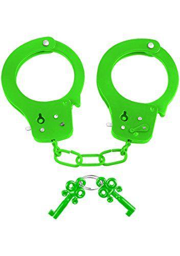 Neon by Pipedream Fun Cuffs - Metall Handschellen mit Schnellentriegelungstaste - grün