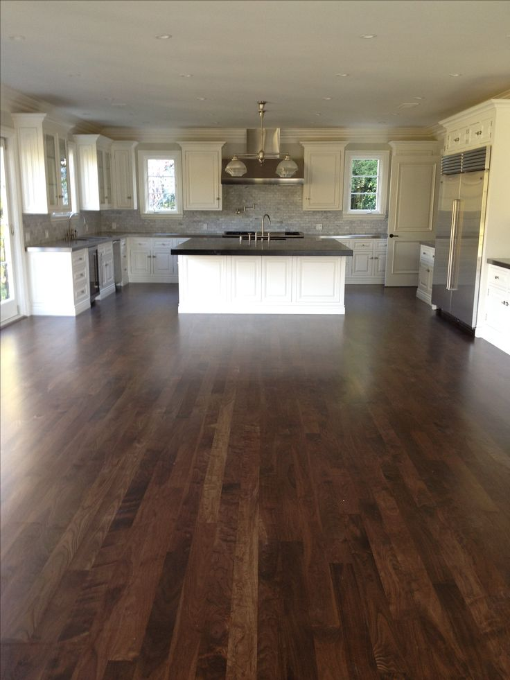 "Hardwood Floor Installation by Oscar Flores Hardwood Floors 3/4 x 5"" Select Walnut Solid no Beveled with custom stain and satin finish"