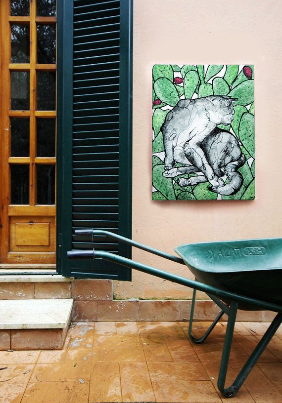 """Wall art inspired by the natural world of Italy 'Cat in Cactus', Art Print also available!  20""""x27"""".  Great for Interior design and gift ideas!  €210.00 AVAILABLE HERE: https://www.etsy.com/ie/listing/210685636/wall-art-20x27-interior-design-and-gift"""