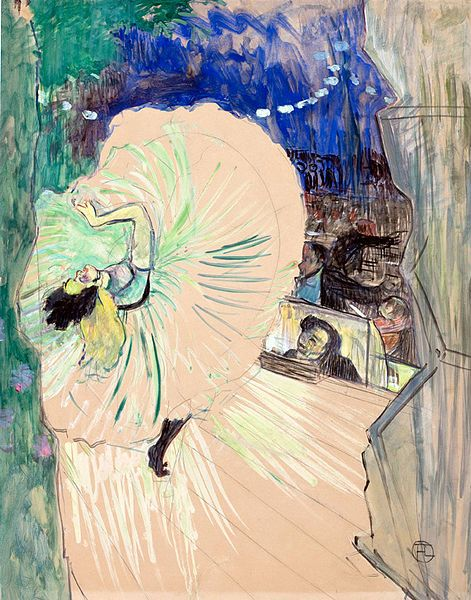"""yama-bato: """"  Henri de Toulouse Lautrec, Loïe Fuller Seen from the Stage Wings…"""