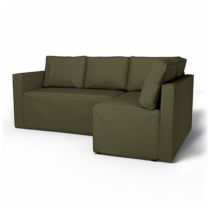 Fågelbo, Housses de canapé, Convertible, Droite, Regular Fit  utiliser le tissu Panama Cotton Moss Green