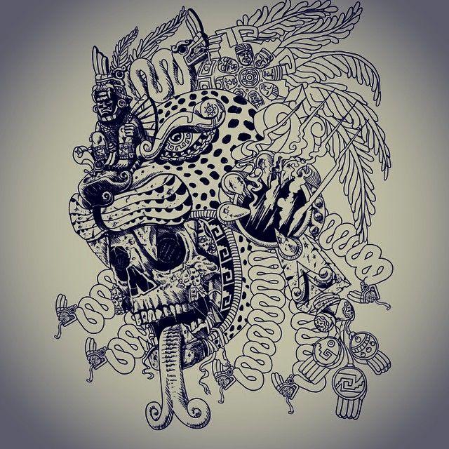 Inca Jaguar: WIP Jaguar Warrior Update #skull #snake #serpent #aztec