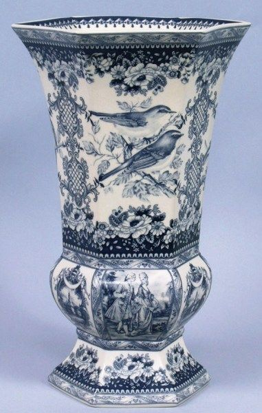 blue and white toile vase