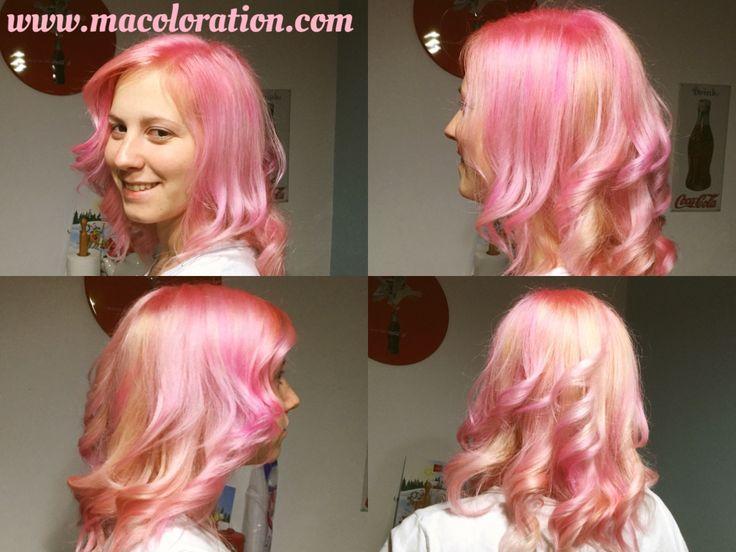 Pastel pink mélangé avec du flamingo pink directions by la riche. Fait par macoloration.com