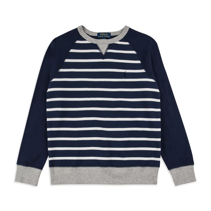 RALPH LAUREN Boys Striped Terry Sweatshirt - Navy Ralph Lauren sweatshirt pays homage to the classic 'POLO' embroidered typography and will seamlessly slot into any wardrobe.