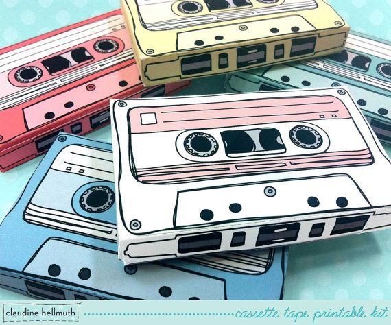 cassette tapes -  gift card holders, party favor boxes, paper toy printable PDF kit - INSTANT download
