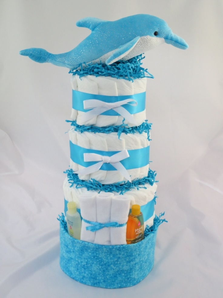 Delightful Dolphin Diaper Cake - The Blue River Baby Shoppe