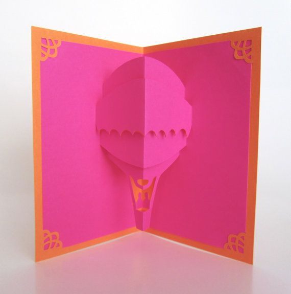 HOT AIR BALOON 3D Pop Up Greeting Card Home Décor Handmade Cut by Hand Origamic Architecture in Hot Pink Fuchsia and Bright Orange OOaK https://www.etsy.com/treasury/NTM5ODkzNXwyNzI0NTc3ODg2/junebug-celebration-dance